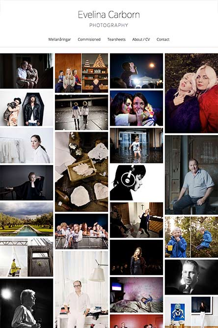 Portfolio i WordPress till fotograf Evelina Carborn i Stockholm, responsiv tablet/iPad